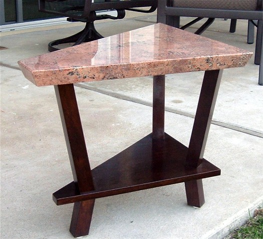 Salmon-color marble table