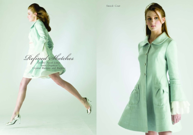 Seafoam green smock coat with ruffles and crystal buttons, designed by Chesley!